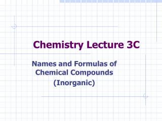 Chemistry Lecture 3C
