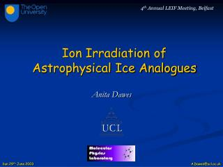 Ion Irradiation of Astrophysical Ice Analogues