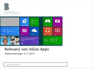 Relevanz von  mGov Apps