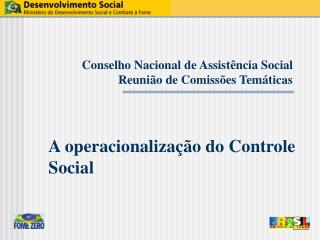 Conselho Nacional de Assistência Social Reunião de Comissões Temáticas