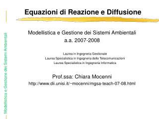Equazioni di Reazione e Diffusione