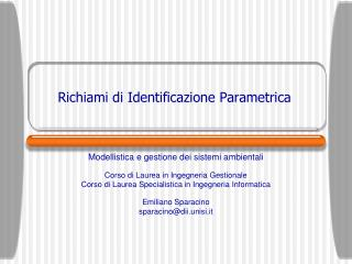 Richiami di Identificazione Parametrica