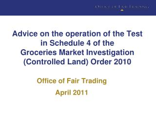 Office of Fair Trading April 2011