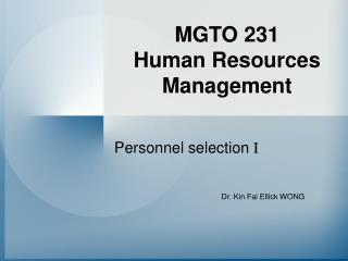 MGTO 231 Human Resources Management