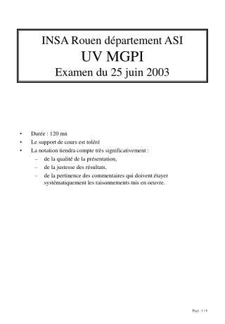 INSA Rouen département ASI UV MGPI Examen du 25 juin 2003