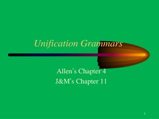 Unification Grammars