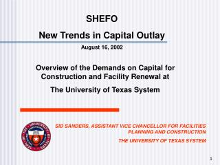 SHEFO New Trends in Capital Outlay August 16, 2002