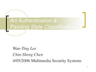 Art Authentication & Painting Style Classification