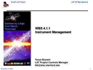 WBS 4.1.1 Instrument Management