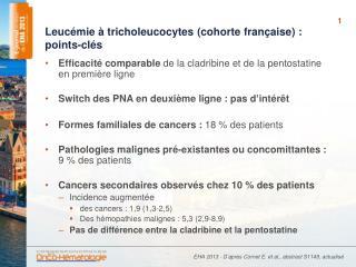Leucémie à  tricholeucocytes  (cohorte française): points -clés