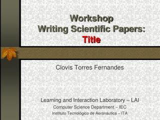 Workshop Writing Scientific Papers: Title