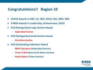 Congratulations!!   Region 10
