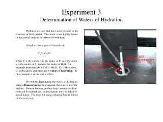 Experiment 3 Determination of Waters of Hydration