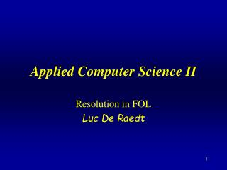 Applied Computer Science II