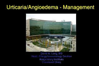 Urticaria/Angioedema - Management