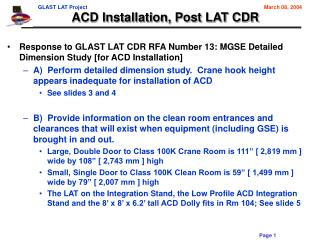 ACD Installation, Post LAT CDR
