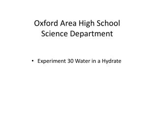 Oxford Area High School  Science Department