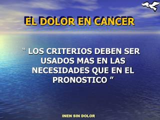 EL DOLOR EN CANCER