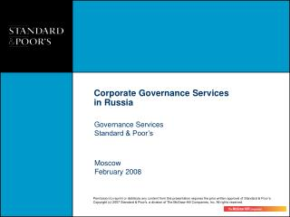 Governance Services Standard & Poor's
