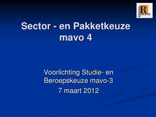 Sector - en Pakketkeuze mavo 4