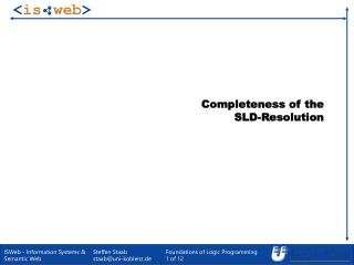 Completeness of the  SLD-Resolution