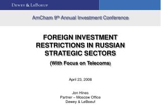 AmCham 9 th  Annual Investment Conference