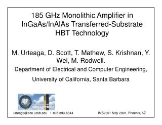 185 GHz Monolithic Amplifier in InGaAs/InAlAs Transferred-Substrate HBT Technology