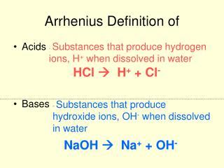 Arrhenius Definition of