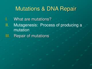 Mutations & DNA Repair
