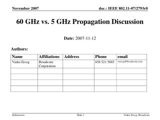 60 GHz vs. 5 GHz Propagation Discussion