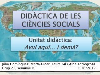 DIDÀCTICA DE LES CIÈNCIES SOCIALS