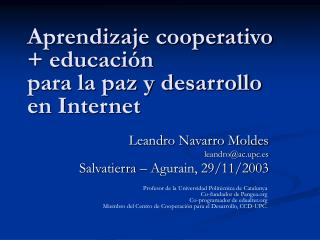 Aprendizaje cooperativo  educaci n  para la paz y desarrollo  en Internet