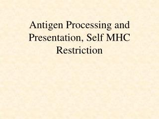 Antigen Processing and Presentation, Self MHC Restriction