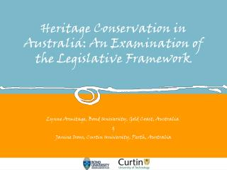 Heritage Conservation in Australia: An Examination of  the Legislative Framework