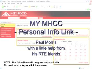 MY MHCC - Personal Info Link -