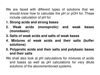 pH calculations 1. Strong Acids and Strong Bases