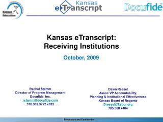 Kansas eTranscript: Receiving Institutions