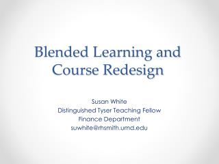 Blended Learning and Course Redesign