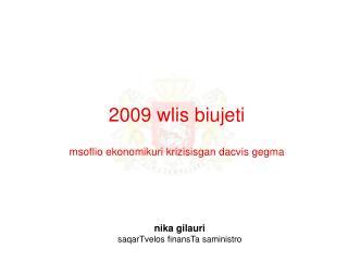 2009 wlis biujeti  msoflio ekonomikuri krizisisgan dacvis gegma