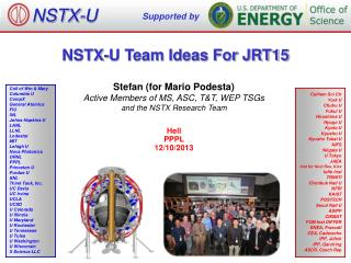 NSTX-U Team Ideas For JRT15