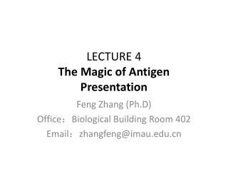 LECTURE 4 The Magic of Antigen Presentation