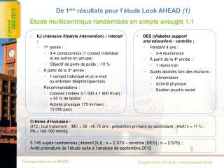 De 1 ers  résultats pour l'étude Look AHEAD  (1)