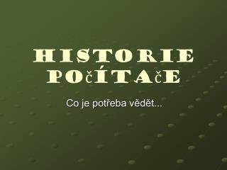 Historie počítače
