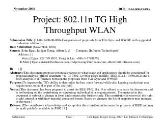 Project: 802.11n TG High Throughput WLAN