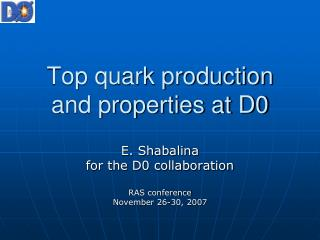Top quark production and properties at D0