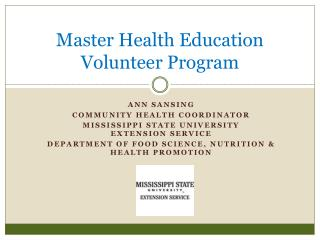 Master Health Education Volunteer Program