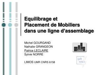 Equilibrage et  Placement de Mobiliers dans une ligne d assemblage