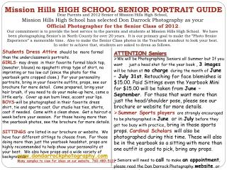 Mission Hills HIGH SCHOOL SENIOR PORTRAIT GUIDE