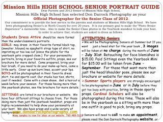 Mission Hills HIGH SCHOOL SENIOR PORTRAIT GUIDE