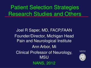 Patient Selection Strategies Research Studies and Others